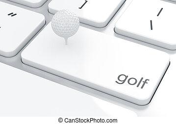 clavier ordinateur, balle, golf