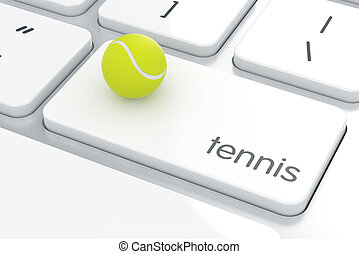 clavier ordinateur, balle, tennis