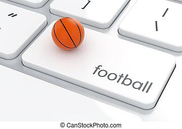 clavier ordinateur, boule basket-ball