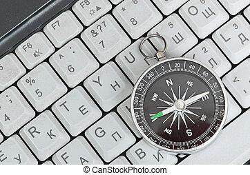 clavier ordinateur, et, retro, compas, décision économique