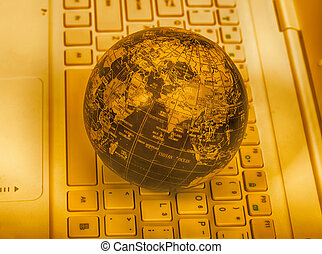 clavier, ordinateur portable, globe