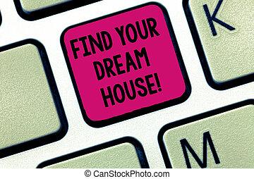 clavier, photo, house., recherche, clavier ordinateur, maison, message, ton, parfait, appartement, créer, écriture, note, intention, trouver, business, projection, idea., showcasing, propriété, rêve