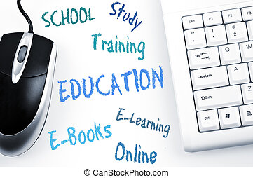 clavier, plan, education, mot, informatique