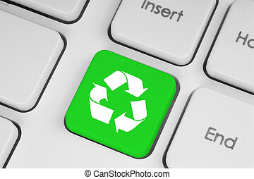 clavier, recycler, vert, concept, bouton