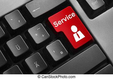 clavier, service, rouges, ouvrier, bouton