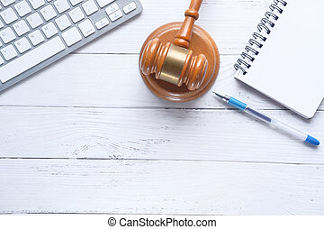 clavier, sommet table, vue, marteau, bloc-notes