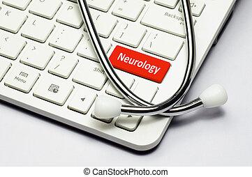 clavier, texte, neurologie, stéthoscope