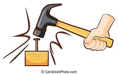 clavo, de madera, golpear, martillo, bloque