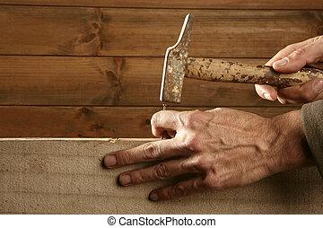 clavo, madera, martillo, carpintero, manos