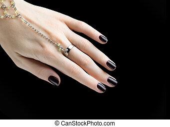 clavo, oscuridad, mate, negro, manicura, manicured, polish.
