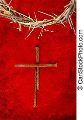 clavo, pincho, cruz, con, corona de espinas