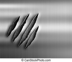 claw damage on metal background - steel metal with claw...