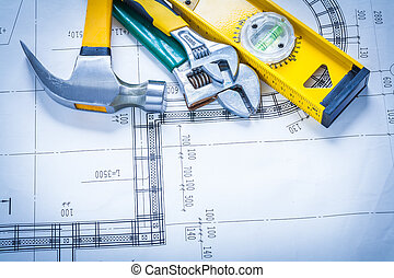 Construction level claw hammer adjustable key blueprints stock claw hammer adjustable spanners construction level on blueprint malvernweather Image collections