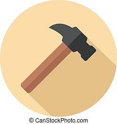 Claw hammer flat icon