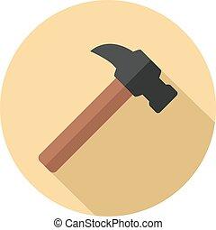 Claw hammer flat icon
