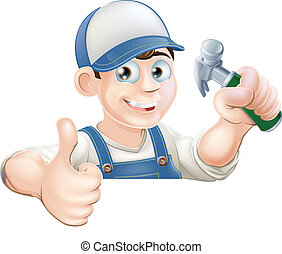 Claw Hammer man over sign thumbs up - A carpenter or other...