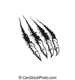 Claw ripping through background, tattoo design