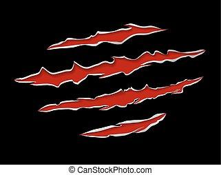 Monster or animal claws damage metal torn on black background, vector illustration