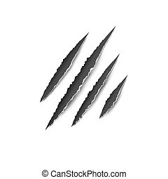 Claws paw scratches isolated vector on white background. Animal Claws horror scratch tiger, lion or bear