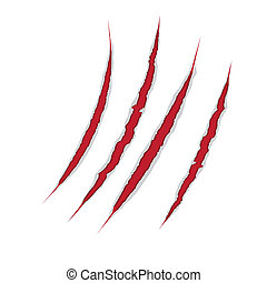 Claws scratch on paper background. Vector damage...