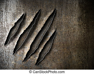 claws scratches marks on rusty metal plate