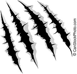 Claws scratches on white background - An illustration of a...