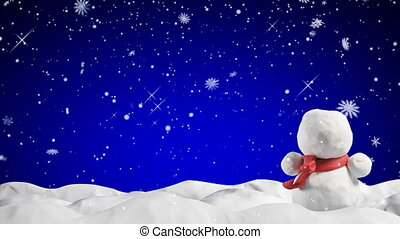 clay animation snowman and snowfall - last 10 seconds is...