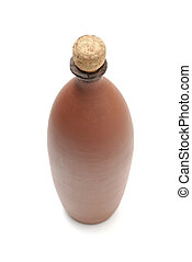 Clay bottle with vine isolated