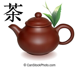 Clay brewing teapot with green sheets of tea on a white...