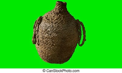 clay brown wicker jug on green chromakey background