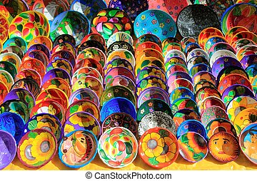 clay ceramic plates from Mexico colorful traditional...