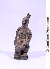 Clay Handmade Statue of an Indian Warrior