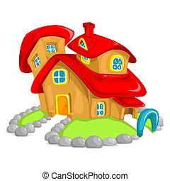 illustration of bubbly clay house on grass