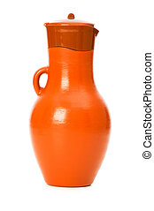 Clay jar isolated on the white background