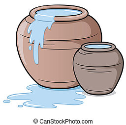 Vector illustration of clay jar