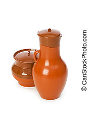 Clay jars isolated on the white background