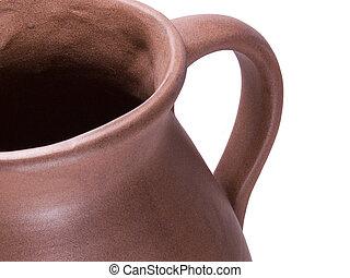 Clay Jug Detail - Detail view of clay water jug showing...