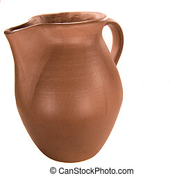 Clay water jug  Closeup of old clay water jug isolated on