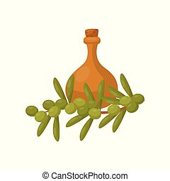 Clay jug of olive oil and a branch of a plum tree vector Illustration on a white background