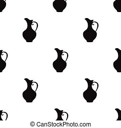 Clay jug of wine icon in black style isolated on white background. Wine production symbol stock vector illustration.