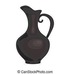 Clay jug of wine icon in monochrome style isolated on white background. Wine production symbol stock vector illustration.