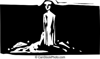 Clay Man - Woodcut style expressionistic image of a ...