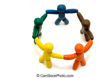 Multicolored clay people standing in circle isolated on white background