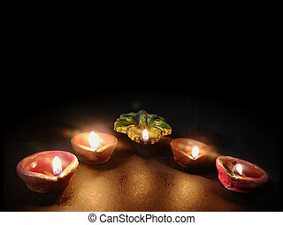 clay oil lamp during Diwali festival. Concept for traditional diwali, holiday festive season background with copy space.