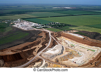 Clay pit. Aerial view.