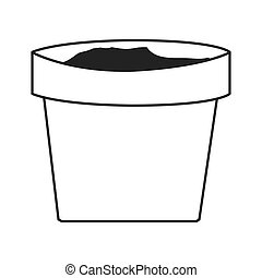 clay plant pot - simple black line clay plant pot vector...