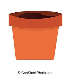 clay plant pot - simple orange clay plant pot vector...