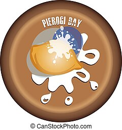 Clay plate with dumplings under sour cream for the date in October Pierogi Day