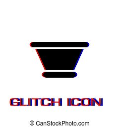 Clay pot icon flat. Simple pictogram - Glitch effect. Vector...
