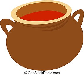 Clay pot, illustration, vector on white background.
